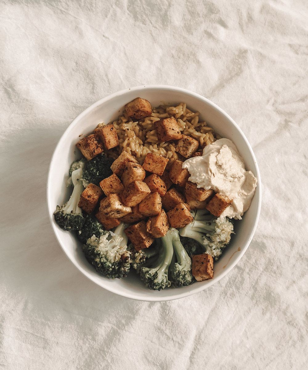 Vegan lunch, broccoli, rice, tofu.