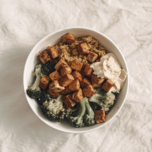 Vegan lunch, broccoli, rice, tofu.