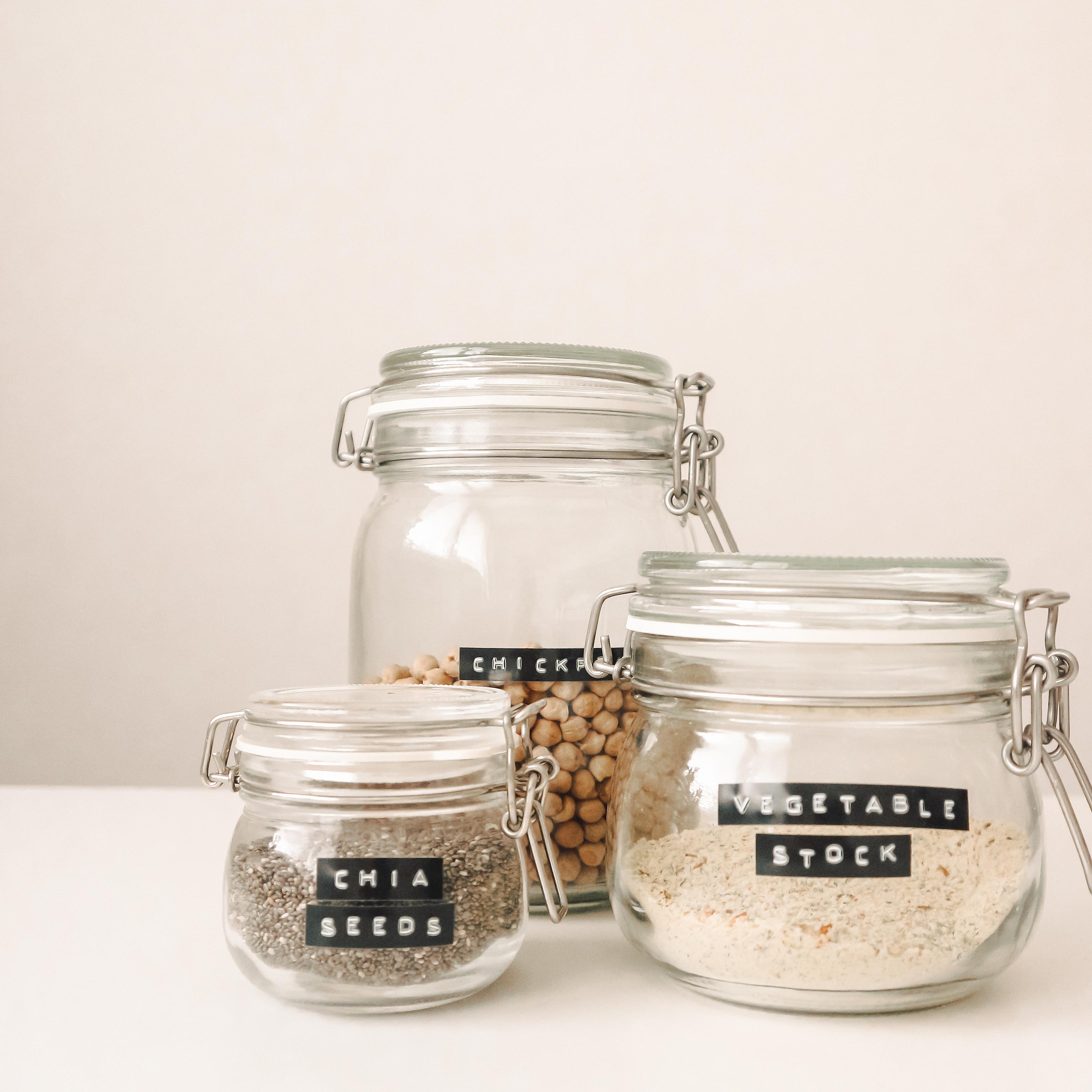 Glass jars with food, zero waste.