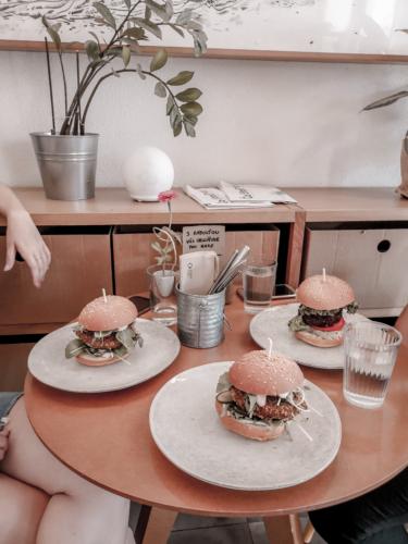 Vegan burgers in a small bistro.